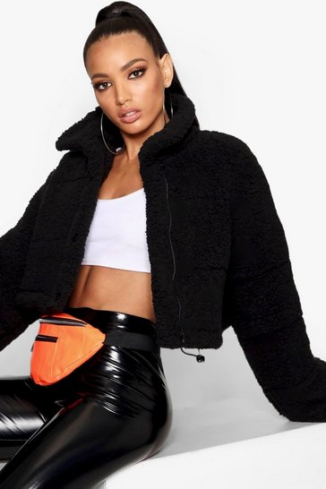 Black Crop Fleece Oversized Puffer Jacket
