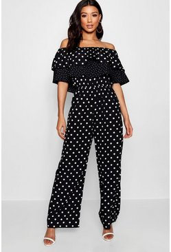 Black Mix and Match Spot Ruffle Jumpsuit