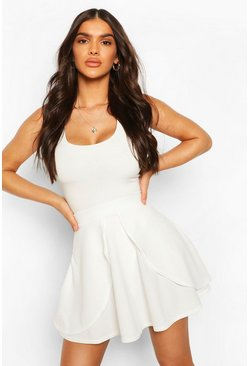 Ivory white Overlayer Skater Mini Skirt