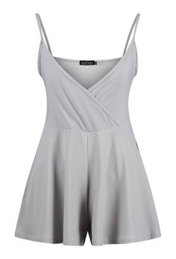 Grey Basic Cami Wrap Playsuit