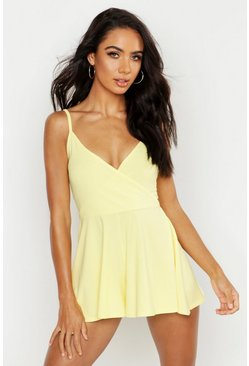 Lemon yellow Basic Cami Wrap Romper