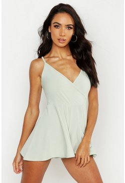 Sage green Basic Cami Wrap Playsuit
