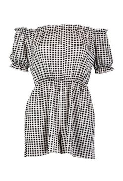 Black Gingham Off The Shoulder Gypsy Style Playsuit