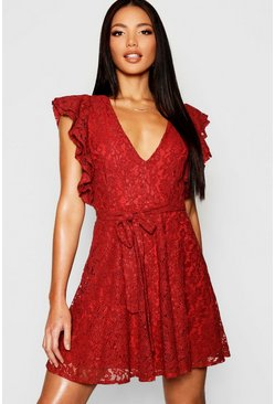 Terracotta orange Lace Ruffle Sleeve Skater Dress