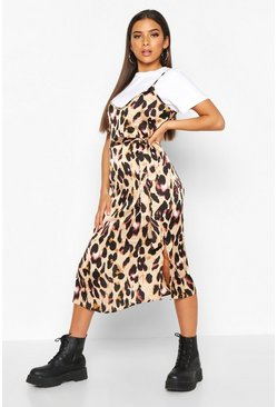 Brown Leopard Satin Slip Dress