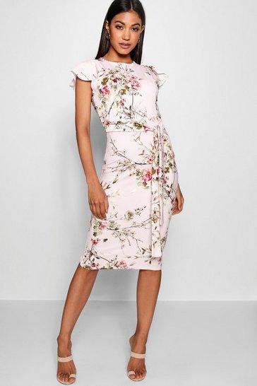 Pink Floral Tie Waist Ruffle Detail Midi Dress