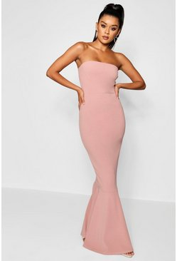 Rose pink Bandeau Fitted Fishtail Maxi Bridesmaid Dress