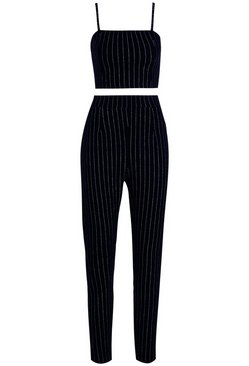 Black Bandeau Pinstripe Trouser Co-ord Set
