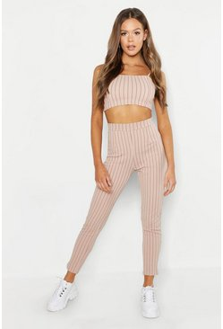 Stone beige Bandeau Pinstripe Pants Two-Piece Set