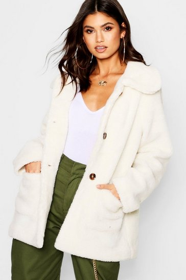 Cream white Teddy Faux Fur Coat