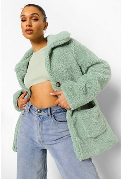 Sage green Teddy Faux Fur Coat