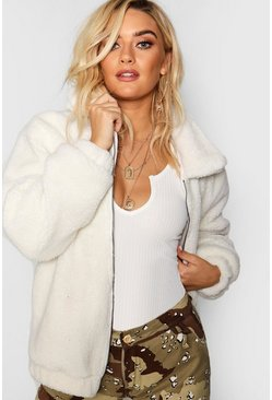 Cream white Oversized Teddy Faux Fur Bomber Jacket