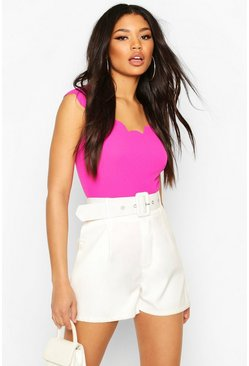 Hot pink Cap Sleeve Scallop Edge Body Suit