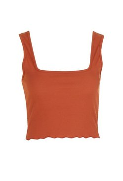 Brick Square Neck Lettuce Hem Crop