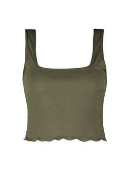 Khaki Square Neck Lettuce Hem Crop