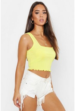 Lemon yellow Square Neck Lettuce Hem Crop