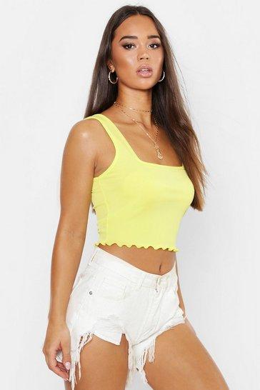 Lemon yellow Yellow Square Neck Lettuce Hem Crop Top