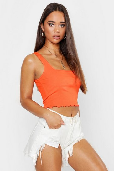 Orange Square Neck Lettuce Hem Crop