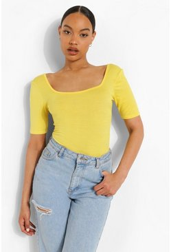 Lemon yellow Basic Square Neck Short Sleeve Bodysuit