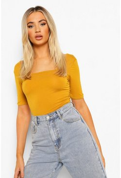 Mustard yellow Basic Square Neck Short Sleeve Bodysuit