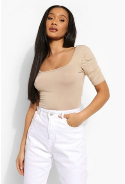 Stone beige Basic Square Neck Short Sleeve Bodysuit