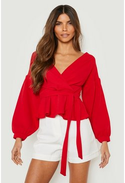 Berry red Bell Sleeve Wrap Over Top