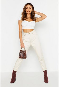 Ecru Contrast Stitch Mom Jeans