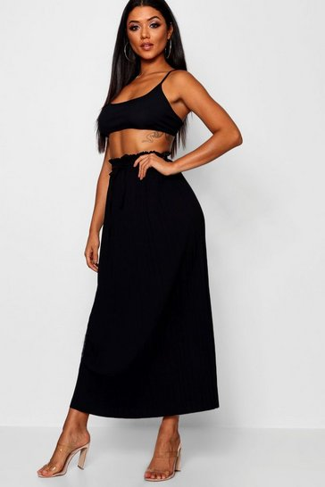 Black Tie Waist Pleated Midaxi Skirt