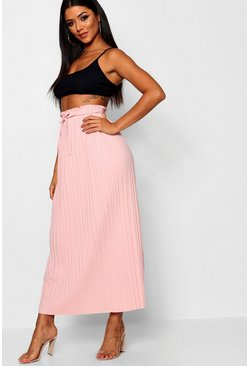 Blush pink Tie Waist Pleated Midaxi Skirt