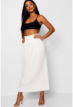 Ivory white Tie Waist Pleated Midaxi Skirt