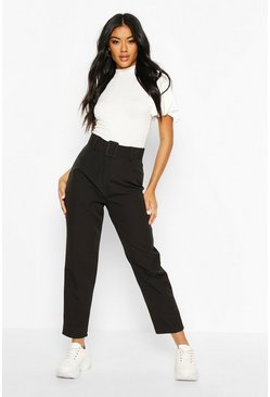 Black Wide Buckle Belt Straight Tapered Pants