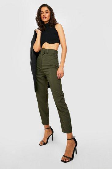 Khaki Wide Buckle Belt Straight Tapered Trouser