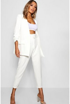 White Wide Buckle Belt Straight Tapered Pants