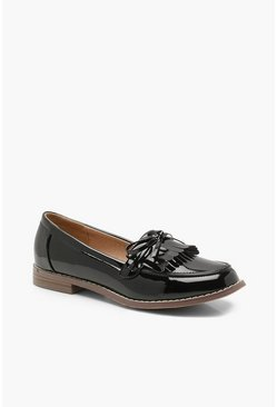 Black Bow and Fringe Loafers