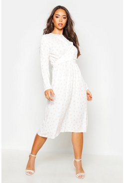 Ivory white Wrapped Front Polka Dot Midi Dress