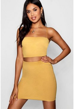 Mustard yellow Strappy Crop And Mini Skirt Two-Piece Set