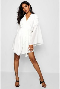 Ivory white Wide Sleeve Woven Wrap Dress