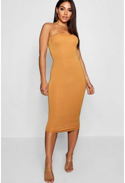 Mustard Bandeau Bodycon Midi Dress