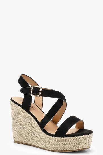 Black Strappy Espadrille Wedges