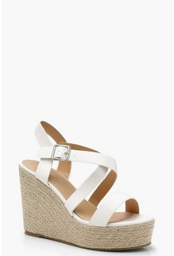 White Strappy Espadrille Wedges