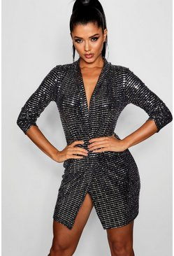 Silver Metallic Blazer Mini Bodycon Dress