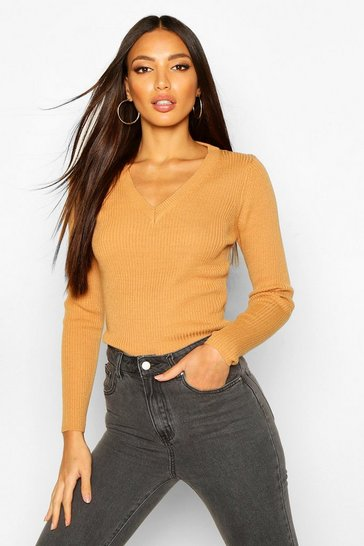 Camel beige Ribbed V-Neck Jumper