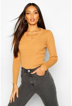 Camel beige Ribbed V-Neck Sweater