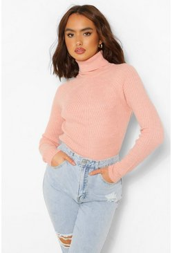 Pale pink pink Rib Knit Roll Neck Jumper