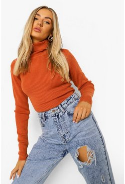 Terracotta orange Ribbed Turtle Neck Jumper
