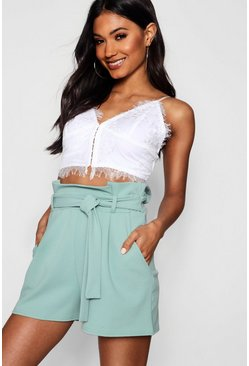 Sage green High Waisted Tie Belt Shorts