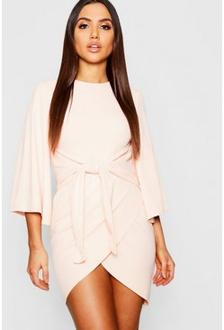 Blush pink Kimono Sleeve Tie Waist Wrap Dress