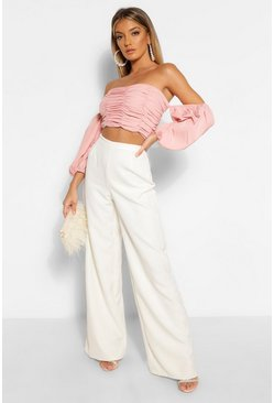 Ivory High Waisted Woven Wide Leg Trousers