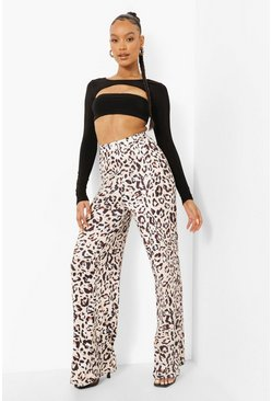 Chocolate brown High Waist Leopard Slinky Wide Leg Trouser
