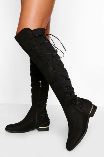 Black Bungee Lace Back Knee High Boots